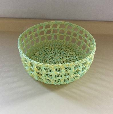Light Green &Yellow Basket/Bowl Crocheted Candy Dish Handmade Kitchen Starched