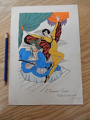 painting WW2 HOME FRONT VINTAGE BALLET DESIGN  naive & camp dated 1941  DANCE  d