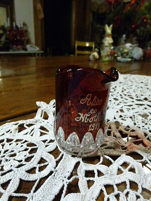 Small Vintage Antique Cranberry Glass Pitcher Victorian - 1913 Gift Mother