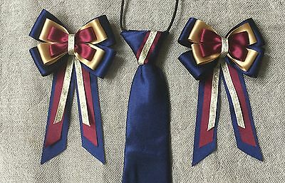 childs equestrian showing set - show tie &bows NAVY BURGUNDY GOLD Lead Rein