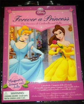 Disney Princess Forever Stories Cinderella Belle NEW Magnetic Gowns Dolls Jewels