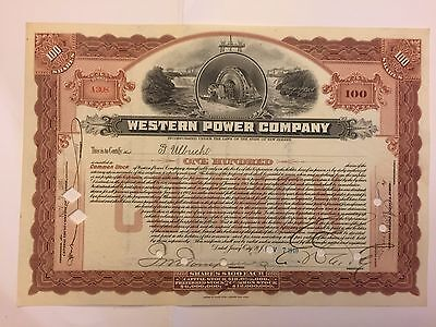 1910 Western Power Company Stock Certificate New Jersey Early Brown! Unique Vig