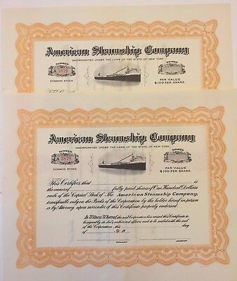 Pair of 1900 American Steamship Co. Stock Certificates John J. Boland Freighter