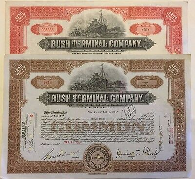 Pair of 1930 Bush Terminal Stock Certificates Brooklyn NY  Industry City Now!