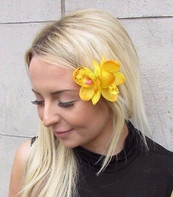 Double Yellow Orchid Flower Hair Clip Rockabilly 1950s Fascinator Tiki Vtg 3204