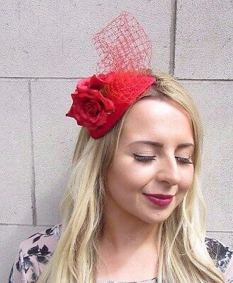 Red Rose Flower Fascinator Net Hair Headband Wedding Races Vintage Velvet 3211