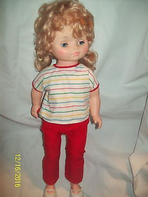 """Vintage EEGEE 18"""" Plastic Sleeper Walker Doll with Clothes & Shoes-Golden Blond"""