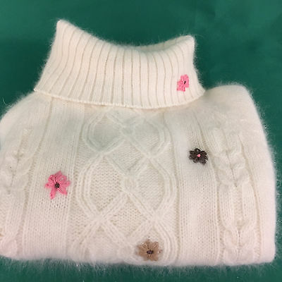 Girls Sweater Size 5/6 Hartstrings Cream w Pink Brown Flowers Angora Turtleneck