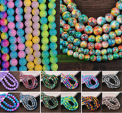 Wholesale Bulk Charms 6mm/8mm/10mm/12mm Round Glass Loose Spacer Beads Findings