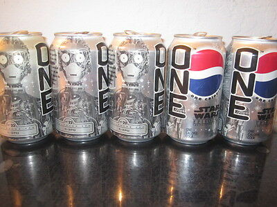 5 Star Wars Pepsi Collector Cans ONE - C-3 P O,  THE Phantom Menace , Episode 1