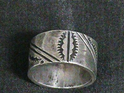 Vintage Native Amer Sterling Silver Stamped Ring Signed F. Tom