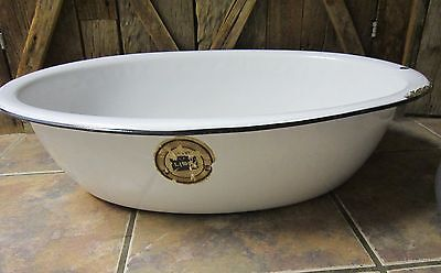 "Antique white porcelain enamel-steel lge 26"" x 19 wash basin-bathtub w label VGC"