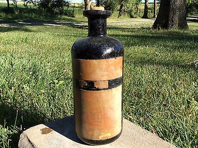 Vintage MEDICINE BOTTLE DIGITALIS Apothecary BROWN AMBER GLASS