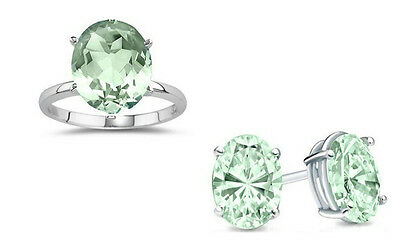 NEW 7.00 CTTW Genuine Green Amethyst Ring & Earrings in Sterling Silver Sz8 $179