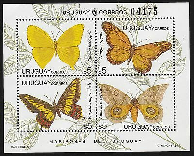 URUGUAY Scott 1576 MNH - 1995 Miniature Sheet of 4 - Butterflies