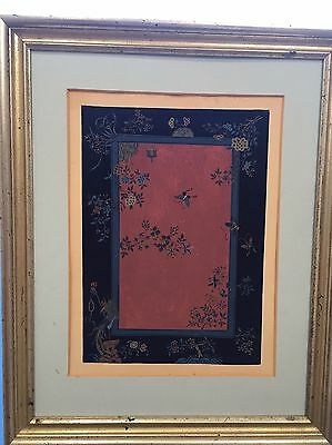 Original Painting Antique in Gouache Oriental Carpet