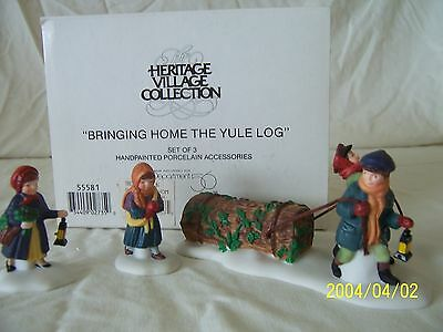 """Department 56 Dickens Village """"BRINGING HOME THE YULE LOG"""" #55581 MINT"""