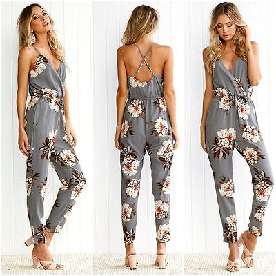 Women's Floral V Neck Long Jumpsuit Summer Party Casual Playsuit Romper Trousers