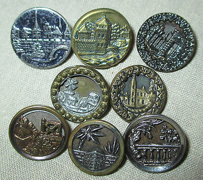 LOT of 8 ANTIQUE VICTORIAN METAL PICTURE BUTTONS - BUILDINGS HOUSES ARCHITECTURE