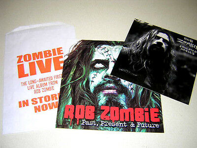 """Rob Zombie-""""lot Of 2 U.s. Issue Promotional Stickers & 1 Promotional Bag"""