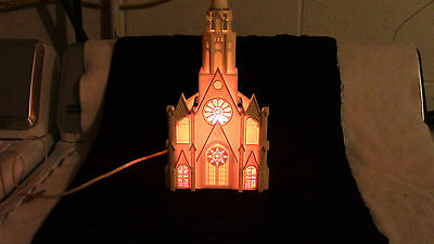 """Vintage Paramount/raylite Lighted Mucical Christmas Church 12"""" Tall"""