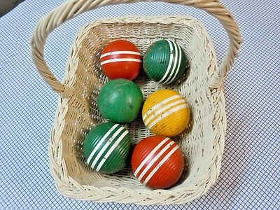 """6 Vtg Striped Ribbed Wood Croquet Balls 3 Grn 2 Red 1 Yellow Approx 10"""" Around"""