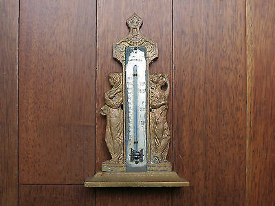 Antique Solid Brass Fahrenheit Desk Thermometer