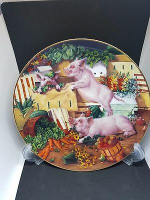Pigging Out Joan Wright Pigs in Bloom Danbury Mint Limited Ed Collectors Plate