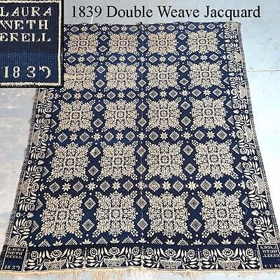 Rare American 1839 Double Weave Jacquard Signed Laura Wetherell