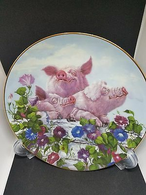 "Danbury Mint ""Pigs in Bloom"" Porcelain Plate - Hamming it up by Joan Wright"