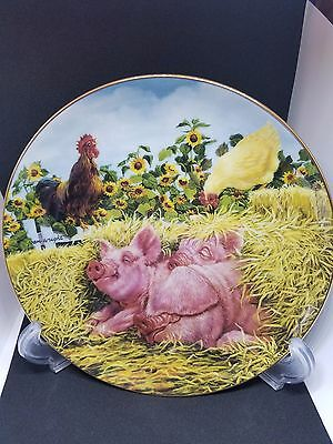 PIGS IN BLOOM Snoozing Swine The Danbury Mint Joan Wright Pig Farm Country Plate