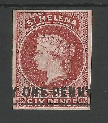 ST HELENA SG4 THE  VICTORIAN 1863  1d  LAKE UNUSED WITH 4 MARGINS C.£160