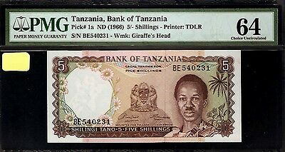 Tanzania 5 Shillings  1966 PMG 64 UNC Printer TDLR WM Giraffe Head