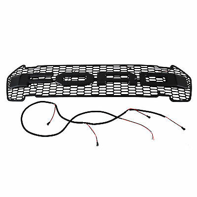 FRONT GRILLE GRILL MATT BLACK FORD RANGER T6 2015-2017 WILDTRAK PX XLT White LED