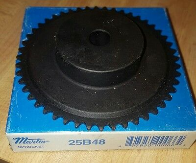 "25B48 1/4"" Pitch, Chain Size 25, Finished Bore Sprocket Gear, 1/2"" Bore NOS"