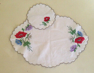 Vintage Hand Embroidered Linen Doily x 2 Doilies Anemones