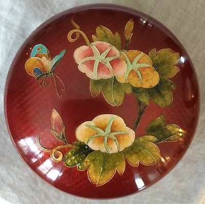 JAPANESE CLOISONNE BOX FINE SILVER WIRE INLAY PIGEON BLOOD w/ FLORAL/BUTTERFLY
