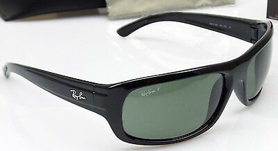 Ray Ban RB4166 601/58 Mens Black Frame Green Polarized Lens Wrap Sunglasses NEW