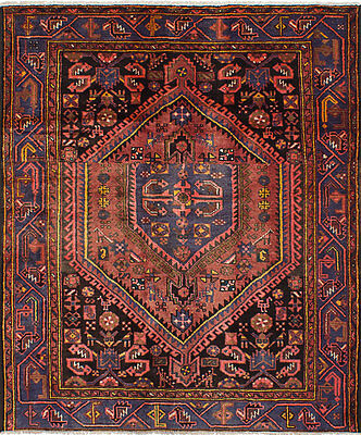 "Hand-knotted Persian Carpet 4'9"" x 6'2"" Persian Vintage Wool Rug...DISCOUNTED!"