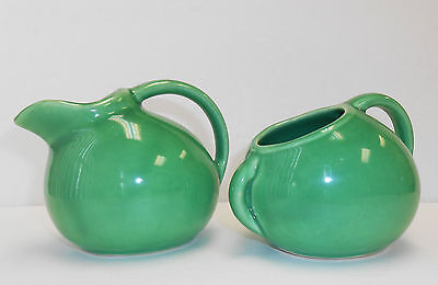 Vintage Hall Pottery Small Pitcher Creamer & Sugar Bowl Green USA Unmarked