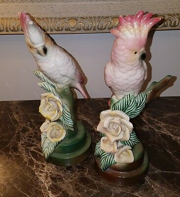*SET OF 2* ORIGINAL Signed MADDUX Pink White PERCHED COCKATOO FLOWER FIGURINES