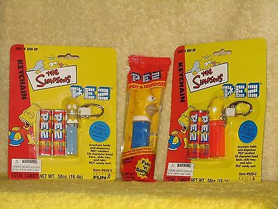 2001 Basic Fun SIMPSONS PEZ KEYCHAIN Homer & Bart Simpson NEW + Bonus Homer