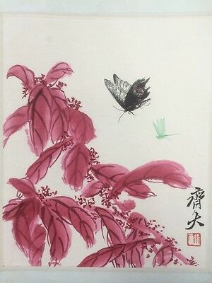 Vintage Chinese QI BAISHI Watercolor & Ink  Painting Plant Butterfly Dragonfly