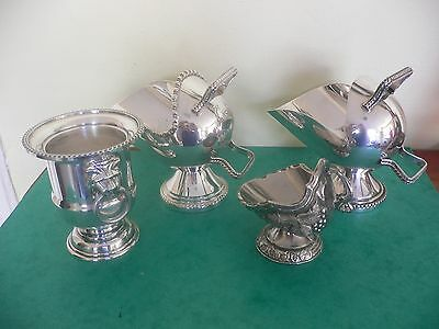 Vintage Job Lot English Silver Plated Sugar Scuttles and Urn