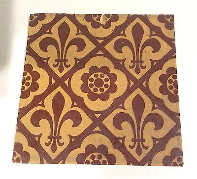 Minton Hollins Encaustic Tile Fleur de Lis Repaired #76