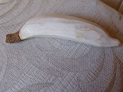 VINTAGE Handcrafted WOOD wooden FRUIT banana collectable white washed
