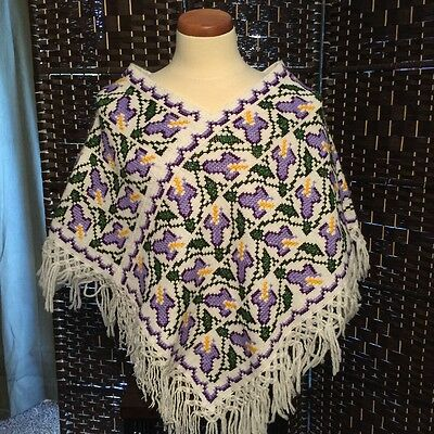 HAND-EMBROIDERED Cotton HUIPIL Poncho Mexico NWOT Size M
