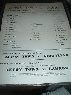 Luton Town v Clyde Aug 1969 friendly