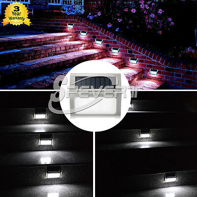 Upgraded Wireless 3 LED Solar Stairway Light Outdoor Garden Step Stair Deck Lamp