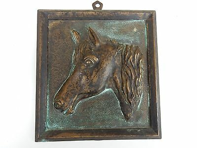 1940S ERA NAIVE BRONZE HORSE PLAQUE  BRASS BRONZE  ART DECO ERA  unsigned